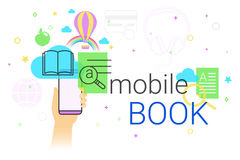 Mobile book and electronic library app on smartphone concept vector illustration Royalty Free Stock Image