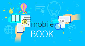 Mobile book and electronic library app on smartphone concept vector illustration Stock Photography