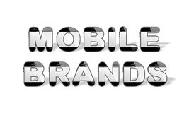 MOBILE BRANDS designed with smartphone shaped alphabet letters Royalty Free Stock Images