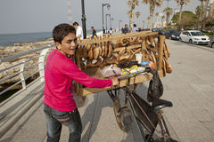 Mobile bread vendor, Lebanon Stock Photo