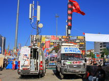 Mobile broadcast trucks. ISTANBUL - JUN 10: Plans to build on Gezipark led to anti government unrest on June 10, 2013 in Istanbul, Turkey. A festival atmosphere Stock Image