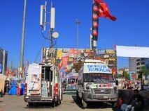 Mobile broadcast trucks Stock Image