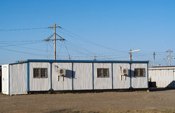Mobile building on industrial site Stock Images