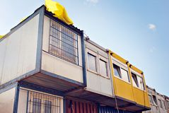 Mobile building in industrial site or office container stock images