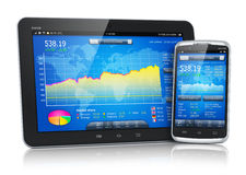 Stock market on mobile devices Royalty Free Stock Image