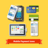 Mobile business payment flat icon set. Wireless POS terminal scanning NFC mobile phone payment. Accepting credit cards with tablet and phone adapters. EPS 10 Stock Photos