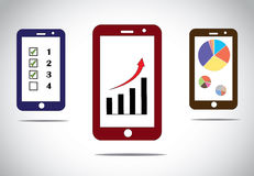 Mobile business progress charts icons infographics Royalty Free Stock Images