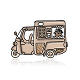 Mobile cafe with desserts, sketch for your design Royalty Free Stock Photos