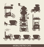 Mobile cafe. Set of mobile cafe in retro style stock illustration
