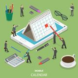 Mobile calendar flat isometric vector concept. People are making some marks on the paper calendar that is standing on the mobile phone Royalty Free Stock Photos