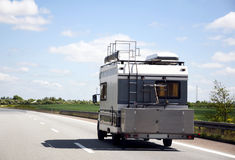 Mobile camper travel. Off to see the world in a traveling motorhome Royalty Free Stock Photos