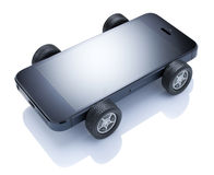 Mobile Apple Car Cell Phone. A cell smartphone car with wheels on a white background Royalty Free Stock Image