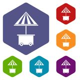 Mobile cart with umbrella for sale food icons set Stock Image
