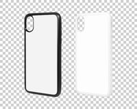 Mobile case isolated on transparent layer background. Blank phone cover for your design. Clipping paths object. Mobile case isolated on transparent layer royalty free illustration