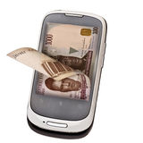 Mobile cash. Concept of mobile cash with Nigerian currency. sending and receiving money through mobile means royalty free stock photos