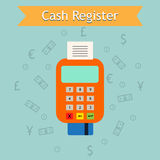 Mobile cash register machine illustration. Retail services e-commerce business. Royalty Free Stock Photo