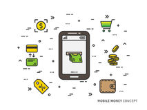 Mobile cash vector linear illustration Royalty Free Stock Photos
