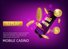 Mobile casino slot game. Flying phone marketing background for casino jackpot slots machine.  royalty free illustration
