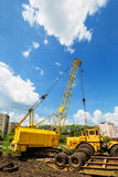 Mobile caterpillar crane. On a background of blue sky Stock Image