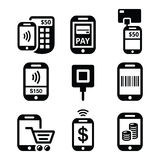 Mobile or cell phone payments, paying online with smartphone icons Stock Photo