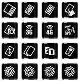 Mobile or cell phone, smartphone,  specifications and functions. Icons set Royalty Free Stock Images