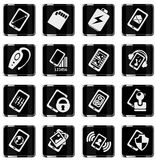Mobile or cell phone, smartphone,  specifications and functions. Icons set Stock Photography