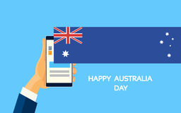 Mobile Cell Smart Phone Hands Australia Day Royalty Free Stock Photography