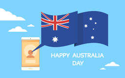 Mobile Cell Smart Phone Hands Australia Day Stock Images