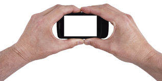 Mobile Cell Smart Phone Isolated, Your Text Here. Hands holding hand held mobile smart cell phone with blank room for your text here, image, graphic, or copy Royalty Free Stock Photo
