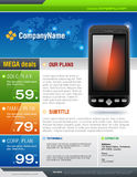 Mobile Cell Smart Phone Telecom Provider Flyer vec Stock Image