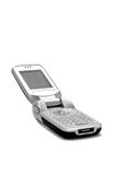 Mobile or Cellular Phone. Isolated view of a mobile or cellular phone, clamshell style, flipped open Royalty Free Stock Images