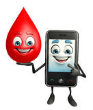 Mobile character with blood drop Stock Photo