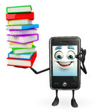 Mobile character with Books pile Stock Photos
