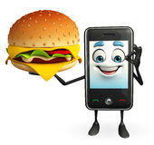 Mobile character with burger Stock Image