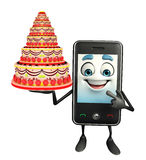 Mobile character with cake Stock Image