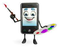 Mobile character with Color plate Stock Images