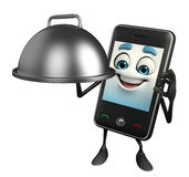Mobile character with cooking pot Royalty Free Stock Images