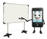 Mobile character with display board Royalty Free Stock Photo