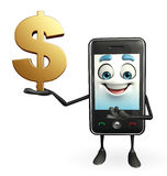 Mobile character with dollar sign Royalty Free Stock Photography