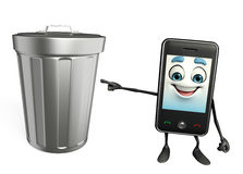 Mobile character with dustbin Royalty Free Stock Photo