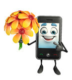 Mobile character with flower Royalty Free Stock Photography