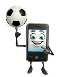 Mobile character with football Royalty Free Stock Photography