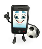 Mobile character with football Stock Photo