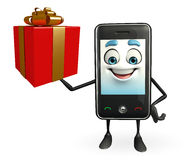 Mobile character with gift box Royalty Free Stock Images