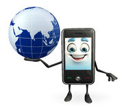 Mobile character with globe Royalty Free Stock Photos