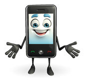 Mobile character is Happy pose Stock Photography