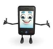 Mobile character is Happy pose Stock Image