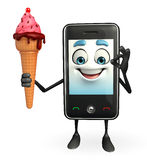 Mobile character with Icecream Stock Photos