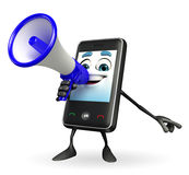 Mobile character with Loudspeaker Stock Photo