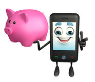 Mobile character with piggy bank Stock Photography